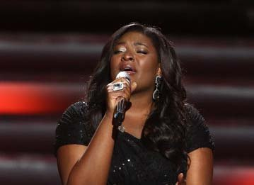 Candice Glover, a 23-year-old R&B singer from South Carolina, performs during the 12th season of American Idol.
