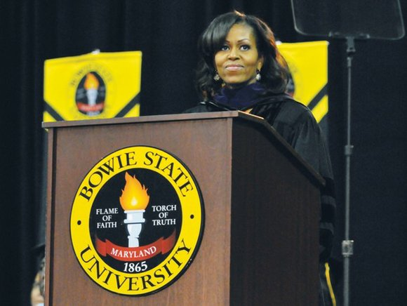 First lady Michelle Obama addressed a predominantly African-American crowd at Bowie State University's commencement on Friday, May 17.