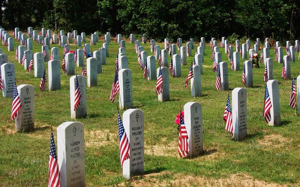 Flags honor U.S. Military at cemetery.
