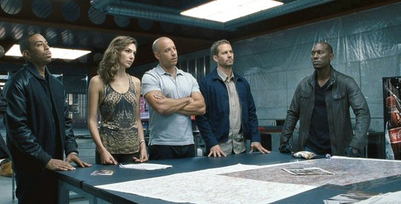"Ludacris, Elsa Pataky, Vin Diesel, Paul Walker and Tyrese Gibson in ""Fast and Furious 6."""