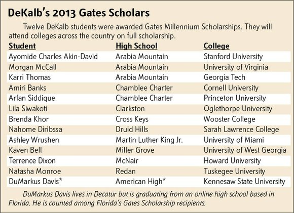 A dozen DeKalb graduates are going to college this fall on full-ride 2013 Gates Millennium Scholarships.