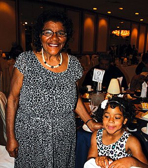Hall of fame inductee Helen Chambers with granddaughter Keyare Hawkis, 5.