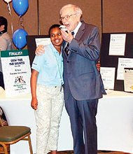 "Bollman Bridge Elementary School fifth-grade student Krissa Hillman was selected to tell her story to Warren Buffet on Monday, May 20, 2013 in Omaha, Nebraska as part of Buffett's Secret Millionaires Club's ""Learn and Earn, Grow Your Own Business Challenge."""