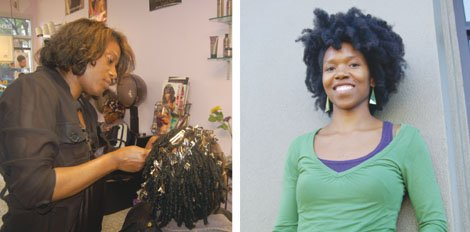 Roslyn Graham (left) focuses on the locs of one of her customers at Shape It Up salon in northeast Portland. A licensed business owner, she supports a new law passed last week by the Oregon Legislature that will loosen the restrictions on natural hair styling, but has mixed feelings about the possibility of increased competition. Amber Starks (right) will be able to braid, loc, and twist hair in the Oregon workplace without the burdensome requirements of a cosmetology license thanks to her advocacy of the new law easing restrictions.