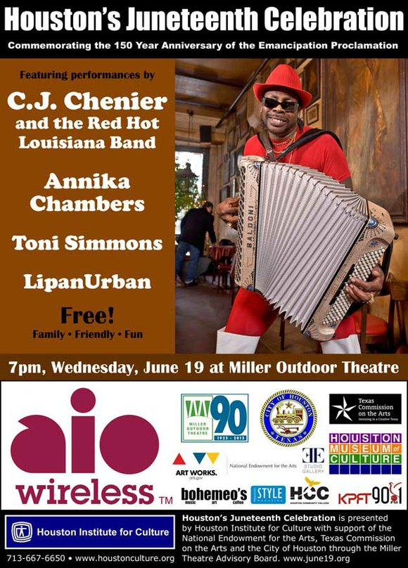 Houston's Juneteenth Celebration at Miller Outdoor Theatre, June 19th at 7pm with Featuring Performances by C.J. Chenier and the Red ...