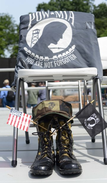 A symbol of honor for prisoner's of war and those missing in action at the Vietnam Memorial on Monday, May 27, 2013.