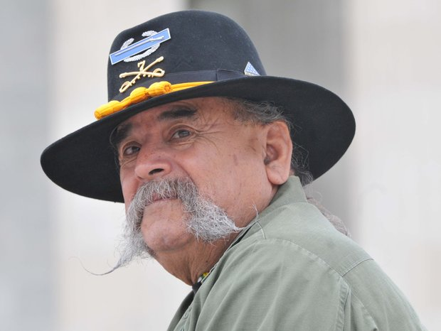 Former U.S. Army 7th Calvary Vietnam Veteran Fernando Salinas, 67 of Kenedy, Tx. in Washington to pay respect to fallen soldiers of Vietnam on Monday, May 27, 2013.