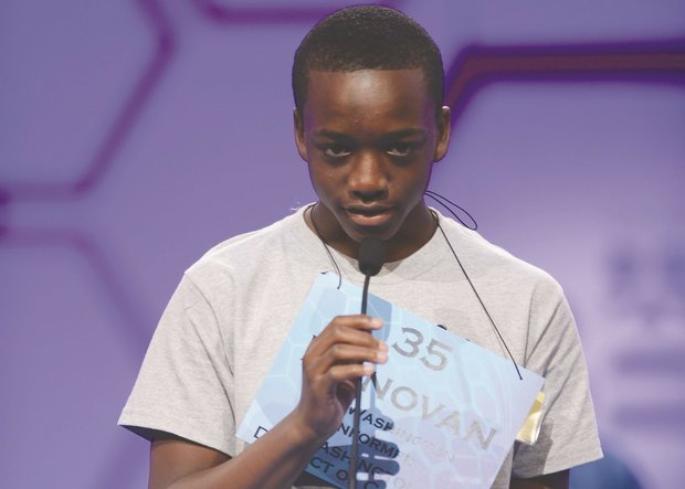 Donovan Rolle, 13, counted among the students who aspired to hoist the Scripps National Spelling Bee's shiny, gold trophy high in the air. He was the only speller to represent the District of Columbia in the bee in 2013. (Photo courtesy of Scripps National Spelling Bee)