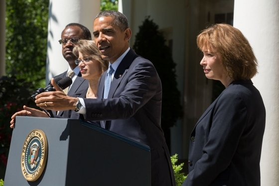 "President Barack Obama delivers a statement announcing the nomination of three candidates for the U.S. Court of Appeals for the District of Columbia Circuit in the Rose Garden of the White House on  June 4, 2013. Nominees from left are Robert Leon Wilkins, Cornelia ""Nina"" Pillard, and Patricia Ann Millett. (Official White House Photo by Chuck Kennedy)"