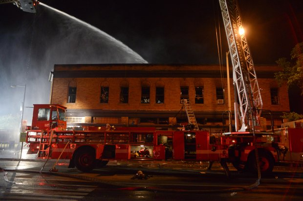 D.C. Fire Fighters worked well into the night fighting a 4-alarm blaze that destroyed Frager's Hardware, a Capitol Hill landmark, on Wednesday, June 5. Three fire fighters were hurt fighting the blaze.