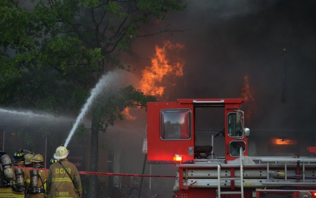 D.C. Firefighter's battle a four-alarm blaze that destroyed Frager's Hardware in Southeast on Wed., June 5.