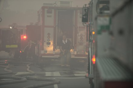 An unidentified D.C. firefighter on the scene of a 4-alarm fire that destroyed Frager's Hardware in Southeast on Wed., June 5.