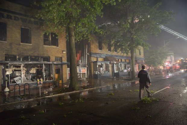 A four-alarm fire destroyed Frager's Hardware in Southeast on Wed., June 5. More than 200 fire fighters from the District and Joint Base Anacostia Bolling fire departments to fight the blaze.