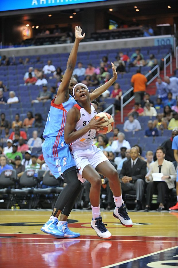 Mystics forward Crystal Langhorne drives to the basket past an Atlanta defender on Sunday, June 2 at the Verizon Center in Northwest. Langhorne finished the game with 15 points and 4 rebounds. Atlanta defeated Washington 73-63.