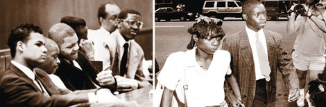 In 1989, five black and Latino teenagers were wrongfully convicted of attacking and raping a white female jogger in New York City's Central Park. The story of injustice is told in the Ken Burns documentary 'The Central Park Five.'  in the photo on right, Antron McCraya, one of the defendants and his mother walk to the courthouse.