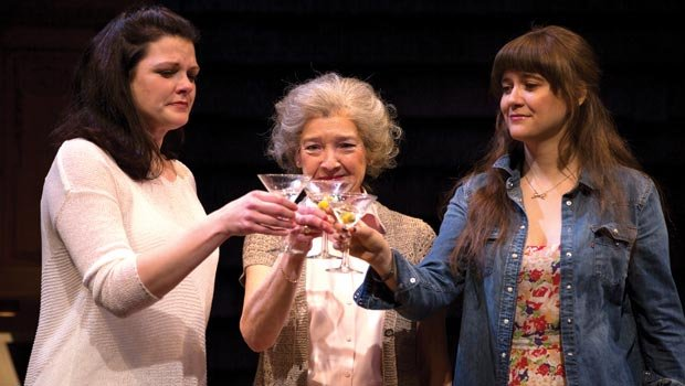 "Catherine (Kate Shindle), Alice (Nancy E. Carroll) and Avery (Shannon Esper) share a toast in the Huntington Theatre Company's production of Gina Gionfriddo's ""Rapture, Blister, Burn."""