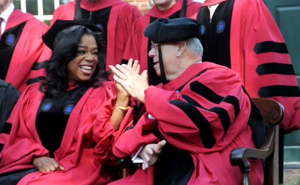 "Mayor Thomas Menino welcomed Oprah Winfrey at Harvard University's 362nd Commencement on May 30. Winfrey was the principal speaker at the afternoon exercises. Delivering her usual dose of inspiration, the TV host and media mogul told students, ""There's no such thing as failure. Failure is just life trying to move us in another direction."""