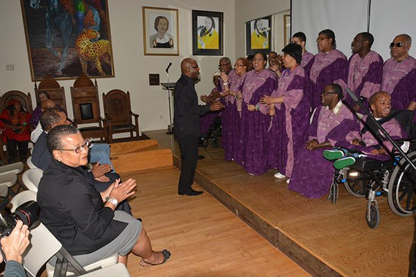 U.S. Deputy Administrator Marie Johns with the ADTI inspirational choir at The Art & Drama Therapy Institute located on S Street in Northeast, Thurs., May 23.