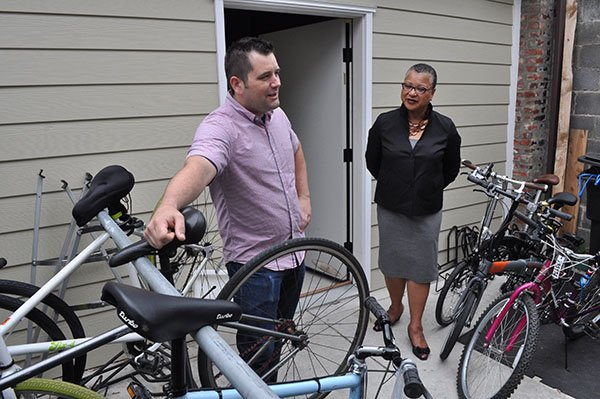 Loren Copsey, co-owner of The Daily Rider, a store specializing in bikes for transportation located on H Street in Northeast with Marie Johns, deputy administrator for the U.S. Small Business Administration on Thurs., May 23.