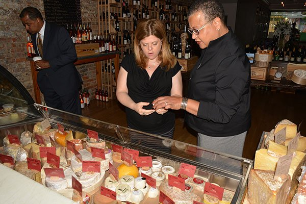 Cork Wine Bar owner Diane Gross with U.S. SBA Deputy Administrator Marie Johns on Thurs., May 23 in Northwest.