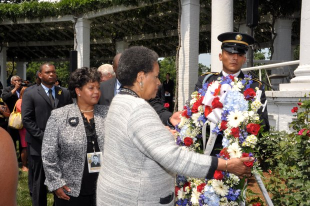 A former U.S. president, the attorney general of the United States, a governor of Mississippi, members of the U.S. Congress and scores of guests honored the life and work of the late civil rights leader Medgar Evers at the Arlington National Cemetery during a wreath-laying ceremony sponsored by the NAACP. (Courtesy of NAACP)