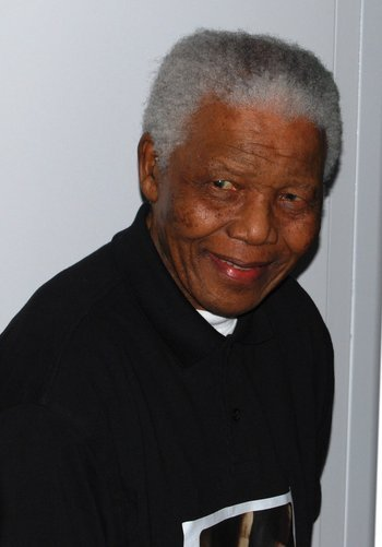 Nelson Mandela at the 46664 London Concert for Nelson Mandela's 90th birthday. June 27, 2008