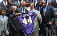 """Ravens General Manager, Ozzie Newsome gave President Barack Obama, the 44th president of the United States, the traditional team jersey emblazoned  """"MR PRESIDENT"""" with the number 44 when Super Bowl XLVII Champion Baltimore Ravens were honored at the White House on Wednesday, June 5, 2013. President Obama wished the team luck but warned them that they will face a tough game against his beloved Bears when the team visits Chicago next November."""