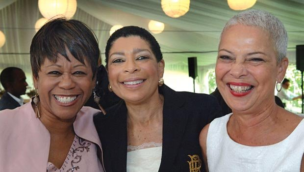 Celebrating 25 years of history at The Partnership's three day leadership conference on Martha's Vineyard are the women who have led the organization as President & CEO: (L-R) immediate past president, Dr Beverly Edgehill; current president, Carol Fulp; and founding president, Benaree Wiley. The Partnership is an organization dedicated to leadership development for professionals of color.