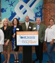 On Monday, June 10, 2013, BGE and the Baltimore Community ToolBank hosted an event to celebrate a powerful inaugural year collaborating with volunteers from local nonprofit organizations in Baltimore. (Left to right) Ellen Falk, Meals on Wheels of Central Maryland; Lynn Hrdlick, BGE; Cassandra Champion, executive director, BCTB; Jim Emge, vice president, BCTB; David Milton, BGE and BCTB Board; Jo Ellen Soesbee, BCTB Board; and Wade Brown, BCTB Board.