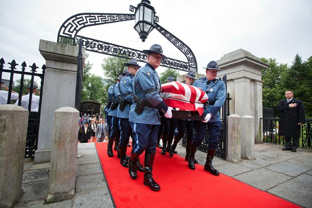 Thursday, June 13, 2013 - The Casket of Governor Argeo Paul Cellucci is brought into the State House by the State Police.
