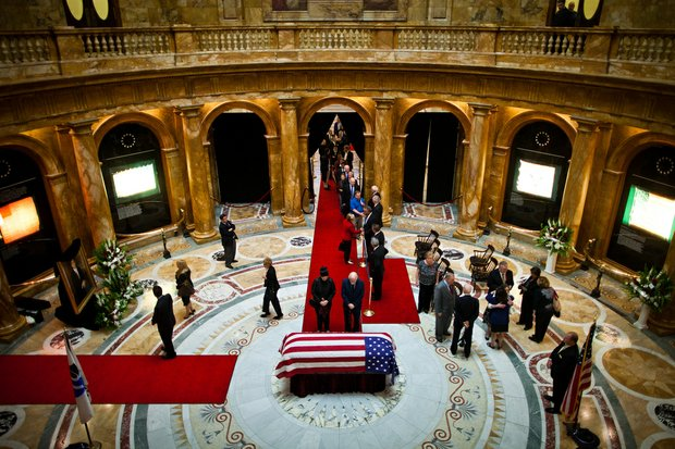 Thursday, June 13, 2013 - Mourners pay their respects to Governor Argeo Paul Cellucci as his body lies in state in Memorial Hall at the State House.
