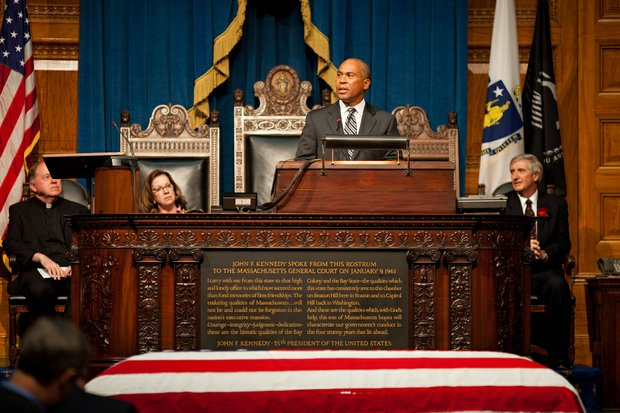 Thursday, June 13, 2013 - Governor Patrick speaks at the memorial service for Governor Argeo Paul Cellucci at the State House.