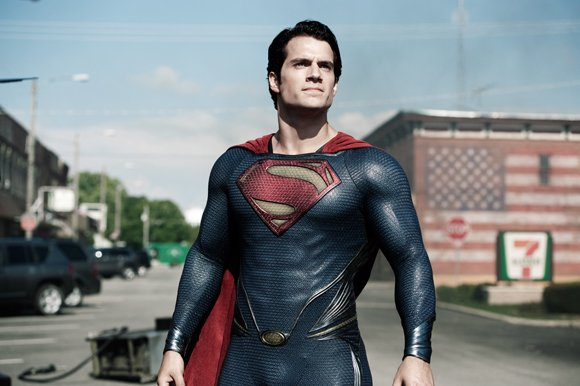 "Henry Cavil stars as Superman in Warner Bros. Pictures' and Legendary Pictures' action adventure ""Man of Steel."""