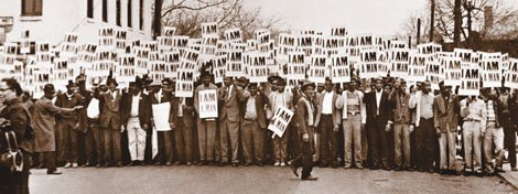 Sanitation Workers assemble for a solidarity march on March 28, 1968 in Memphis, Tenn.