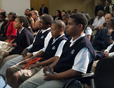 "D.C. area students attend the UNCF's ""Better Futures"" roll-out campaign."
