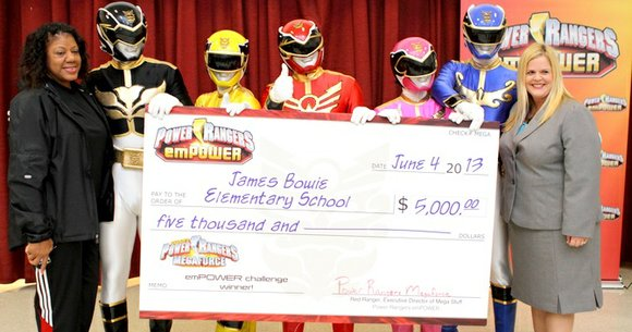 James Bowie Elementary School was presented with a $5,000 donation last week from Haim Saban's Power Rangers Megaforce as the ...