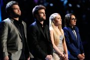 """The Voice"" live finale, pictured are the final four contestants (l-r) Zach Swon, Colton Swon of The Swon Bros, Danielle Bradbery, and Michelle Chamuel."