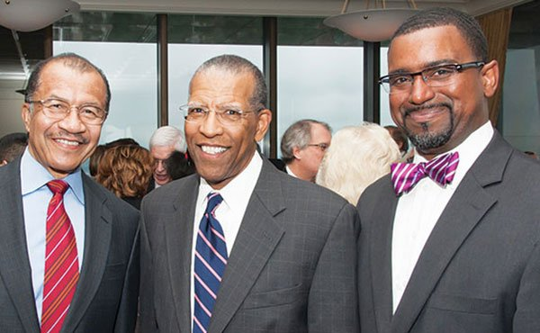 On June 11, 2013, the Lawyers Committee for Civil Rights and Economic Justice held its 45th Anniversary celebration at the Boston College Club in which Brent Henry, Vice President and General Counsel of Partners Health Care, received the Inaugural Founders Award. (Above) Henry shares a moment with prominent Boston attorney Wayne Budd and Rahsaan Hall, Deputy Director, Lawyers Committee.
