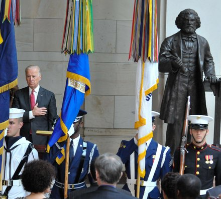 Vice President Joseph R. Biden (D) at the Frederick Douglass statue unveiling held at the U.S. Capitol on June 19.