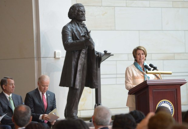 House Minority Leader Nancy Pelosi (D-Calif.) at the Frederick Douglass statue unveiling held at the U.S. Capitol on June 19.