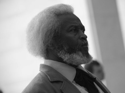 Michael Crutcher Sr., a Frederick Douglass impersonator from Nicholasville, Ky., at the Frederick Douglass statue unveiling held at the U.S. Capitol on June 19.