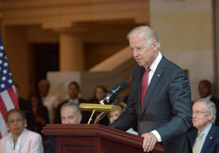 Vice President Joseph R. Biden (D) speaks during the Frederick Douglass statue unveiling at the U.S. Capitol on June 19.