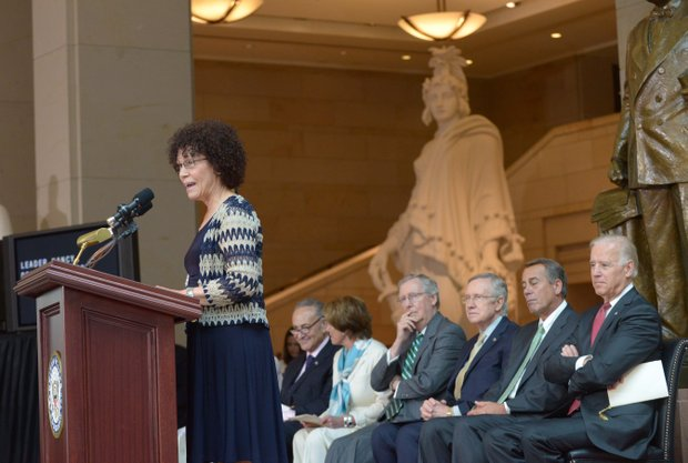 Nettie Washington Douglass, great-great-granddaughter of Frederick Douglass, speaks during the statue unveiling at the U.S. Capitol on Wed., June 19.
