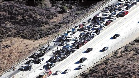 The accused wrongway driver blamed for a nine-vehicle, chain-reaction crash that injured 11 people on the northbound Antelope Valley (14) ...
