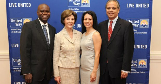 From left: Dr. Eric G. Bing, head of Global Health Initiatives of the Bush Institute and professor of Global Health at Southern Methodist University; former first lady Laura Bush; Dr. Elizabeth Melendez, interim program director of Obstetrics and Gynecology Residency Program, Methodist Health Systems; and Dr. Eduardo Sanchez, deputy medical officer of the American Heart Association.