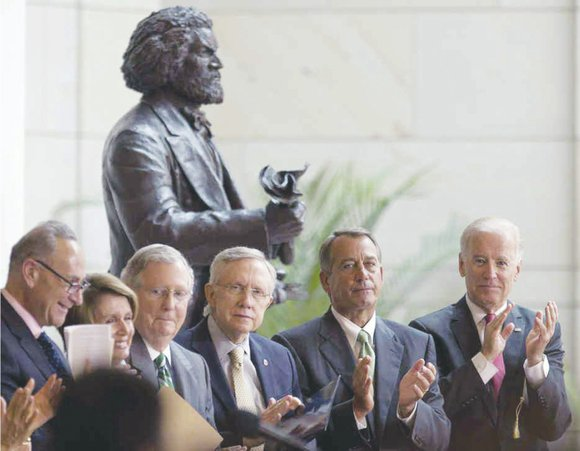 For more than two years, the statue of Frederick Douglass stood in the foyer of One Judiciary Square in Northwest, ...
