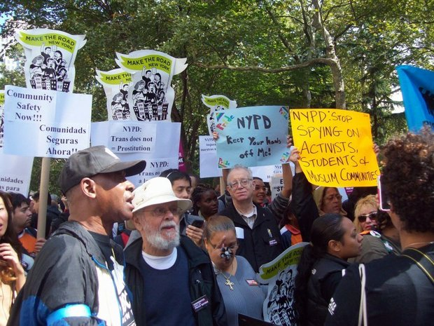 Demonstrators rally in support of the Community Safety Act near City Hall in September, 2012