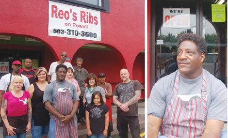 Reo Varnardo welcomes customers to his new Reo's Ribs location at 11400 S.E. Powell Blvd. The restaurant, one of the areas best known rib shacks, moved from a prior location on Macadam Avenue in southwest Portland. Pictured to the left Reo can be seen with his restaurant staff outside their new location.
