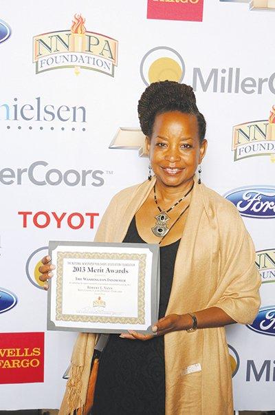 Publisher Denise Rolark Barnes receives the NNPA annual Merit Award on behalf of The Washington Informer, presented last week in Nashville, Tenn. The Washington Informer was recognized in two categories.