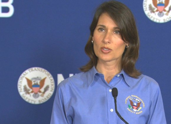 Deborah Hersman, the National Transportation Safety Board Chairwoman, speaks at a news conference on Monday, July 8, updating their investigation into Saturday's Asiana Airlines Flight 214 plane crash at San Francisco International Airport.